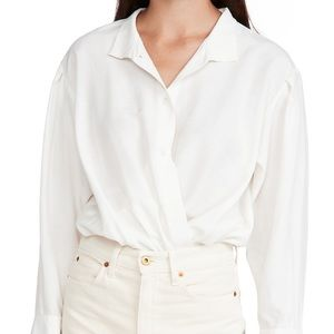FRAME. Button Up Shirt Bodysuit in Blanc Size S/P
